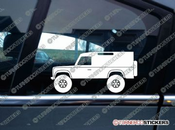 2x Lifted Land Rover Defender 110 VAN offroad 4x4 silhouette stickers